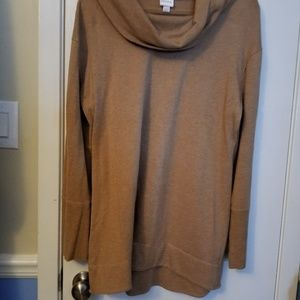 Camel cowl neck sweater tunic